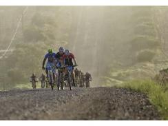 Caption: The peloton crests a hill on the 112.5km fifth stage of the TransCape mountain bike race from Swellendam to Greyton. The seven-day, 690km journey, which started in Knysna, will end at La Couronne Wine Estate in Franschhoek on Saturday. Photo: Jacques Marais
