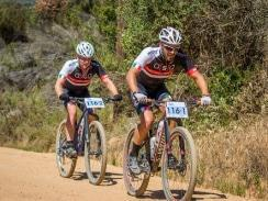 Caption: Mountain biking pro Pieter Seyffert (front) will team up with Travis Walker to ride for Ellsworth-ASG in the seven-day TransCape mountain bike race from Sunday. Photo: Warren Elsom