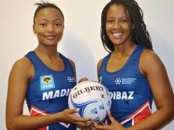 CAPTION: Madibaz netball players Melodine Jacobs (left) and Nolusindiso Twani will represent South Africa at the World Youth Netball Championships in Gaborone, Botswana, next month. Photo: Brittany Blaauw