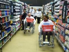 CAPTION: SPAR Eastern Cape sponsorships and events manager Alan Stapleton had his eyes opened when he spent four hours in a wheelchair as part of the Wheelchair Wednesday initiative run by the Association for Persons with Physical Disabilities. Photo: Supplied