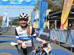 Caption: Team Bestmed-ASG's new signing Kristen Louw delivered an impressive performance when she won the 50km mountain bike race at the 20th Bestmed Cycle4Cansa MTB Championship at Sun City on Saturday. Photo: Full Stop Communications