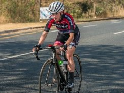 Caption: Demacon's Carla Oberholzer made her move on Long Tom Pass to solo to victory on day two of the Bestmed Jock Tour in Mbombela today. Photo: Memories4U Photography