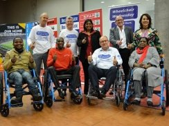 CAPTION: A total of 165 wheelchairs were handed over to the Association for Persons with Physical Disabilities at the conclusion of the Wheelchair Wednesday campaign at the Nelson Mandela Bay Stadium today. Photo: Full Stop Communications