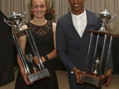Caption: Promising squash star Alexa Pienaar (left) and national long jumper Ruswahl Samaai were named the University of Johannesburg Sportswoman and Sportsman of the Year at the gala awards function at the Johannesburg Country Club yesterday. Picture: Photo: Eon Botha/Swirling Light Photography
