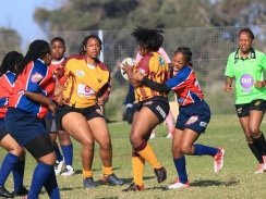 Caption: There were plenty of smiles after the Nelson Mandela University hosted a successful USSA women's rugby sevens tournament in Port Elizabeth this weekend. Photo: Full Stop Communications