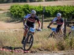 Caption: Pieter Seyffert (left) and Hanco Kachelhoffer, of Ellsworth-ASG, will be back to defend their title in the two-day Sanlam MTB Invitational race starting at the Rhebokskloof Wine Estate near Paarl on Saturday. Photo: Warren Elsom/Capcha Photography
