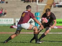 Caption: Loose forward Adriaan Bester (right) will add valuable experience to the University of Johannesburg rugby team when they take on Stellenbosch in their opening game of the Varsity Cup competition in Johannesburg on January 29. Photo: Anton Geyser/Saspa