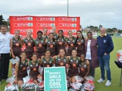 CAPTION: Celebrating their victory in the PE Central tournament of the SPAR Eastern Cape Schoolgirls Hockey Challenge at Westering on Wednesday are the Alexander Road team of (back, from left) Gabriela Jordaan, Lauren Gathercole, (middle, from left) Kyle Schimper (coach), Jordan Tissink, Alexandra Schenk, Asithandile Nama, Gaby Rockman, Jada Botha, Cheyenne Walton, Cassidi Ownhouse (captain) SPAR EC advertising manager Rose Shadrach, SPAR EC sponsorship and events manager Alan Stapleton, (front, from left) Aaminah Ajam, Halle Schrieff, Kiara Meyer, Zoë Maree, Alison Adams, and Bulelwa Vinjiwe. Photo: Full Stop Communications