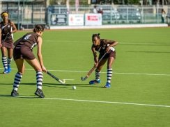CAPTION: Woodridge's Edith Molikoe passes the ball to Lauren Booysen as Chere Jacobs (left) looks on during a match last year. The team will be defending their title in the PE Central tournament of the SPAR Eastern Cape Schoolgirls Hockey Challenge at Westering in Port Elizabeth tomorrow. Photo: Supplied