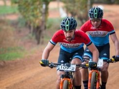 Caption: Third place finishers Marco Joubert (front) and teammate Dylan Rebello in action during the opening stage of the Liberty Winelands Encounter, presented by STANLIB, from Zorgvliet Wine Estate to Le Franschhoek Hotel in the Cape Winelands today. Photo: Robert Ward