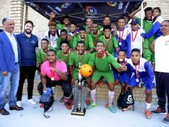 CAPTION: Northern Areas Football Association premier league club Park United celebrate their victory in the SPAR Nafa Easter Soccer Festival after beating Bloom Callies 1-0 in the final at the Gelvandale Sports Fields on Monday. Photo: Charles Pullen