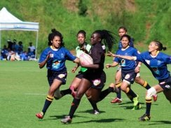 CAPTION: University of Johannesburg star Vhugala Ndou races through to score one of her four tries against University of Western Cape in the quarterfinals of the University Sport South Africa women's sevens rugby tournament at Wits in Johannesburg on Saturday. UJ won the quarterfinal 38-7. Picture: Siphendulwe Nxasana