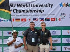 CAPTION: Manager Karl du Preez (left) and student Kyle de Beer are part of the South African outfit competing in the World University Golf Championship which started in Lubao in the Philippines today. Picture: Supplied