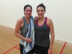 Caption: Lizelle Muller (right) captured another Madibaz Open squash title when she defeated Jacqui Ryder (left) 3-2 in the final at the Nelson Mandela University south campus on Sunday. Picture: FullStop Communications