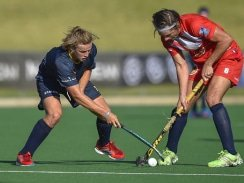 CAPTION: Madibaz player Arno van Jaarsveld (left) and Ryan Scheepers, of Free State University, duel for possession during their Varsity Hockey match at Wits in Johannesburg last weekend. Picture: Christiaan Kotze/SASPA