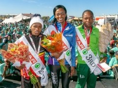 Photo 1: The podium finishers in the SPAR Women's 10km Challenge at Summerstrand in Port Elizabeth today were (from left) Glenrose Xaba (second), Kesa Molotsane (first) and Patience Murowe (third). Picture: Leon Hugo