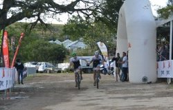 Caption: Aiden Connelly (left) and Rogan Smart take the honours in the second stage of the three-day PwC Great Zuurberg Trek mountain-bike race at Zuurberg Mountain Village at Addo, 70km outside Port Elizabeth, today. Picture: Full Stop Communications