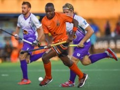 CAPTION: Francois Joubert of NWU (right) gives chase as Manessah Dube of UJ controls possession during their clash in the Varsity Hockey tournament at Wits in Johannesburg last weekend. Picture: Christiaan Kotze/SASPA