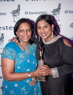 CAPTION: SPAR Eastern Cape advertising manager Roseann Shadrach (right) is joined by her mother, Selina Naicker, at the Business Women's Association regional achiever awards function in Port Elizabeth last week. Picture: Bernadette Meistre/One Two Tree Photography