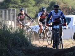 Caption: HB Kruger (ASG-Cape Duo) leads the way on the final stage of the Liberty Waterberg MTB Encounter, presented by STANLIB, at the Sondela Nature Reserve in Bela-Bela today. Photo: Gerrie Kriel/Twin Productions SA