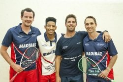 Caption: Madibaz players (from left) Johan Thiel, Gershwin Forbes, Brendan Basset and coach Jason le Roux have been hard at work preparing for the University Sport South Africa squash tournament in Port Elizabeth from July 1 to 7 Picture: Supplied