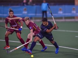 CAPTION: Midfielder Laython Coombs (right) will be an important part of the Madibaz men's squad when the University Sport South Africa hockey tournament takes place in Bloemfontein from July 2 to 6. Picture: Christiaan Kotze/Saspa
