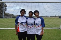 CAPTION: Ready for the University Sport South Africa football week to be hosted by Nelson Mandela University in Port Elizabeth from July 2 to 6 are Madibaz players (from left) Sikelelwa Maxama, Ayabulela Ndyebi and Dane' Natal. Picture: Brittany Blaauw