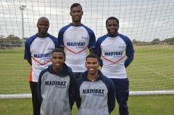 CAPTION: Looking forward to the University Sports South Africa football tournament to be hosted by Nelson Mandela University in Port Elizabeth from July 2 to 7 are Madibaz players (back, from left) Chuma Fobo, Samuel Connelly, Cloudious Ray Sagandira, (front, from left) Athenkosi Papu and Kaashif Jassen. Picture: Brittany Blaauw
