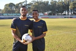 Caption: Madibaz players Samuel Connelly (left) and Athenkosi Papu were chosen for the University Sport South Africa U21 team after the tournament at Nelson Mandela University in Port Elizabeth. Picture: Full Stop Communications