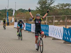 Caption: BCX professional David Maree celebrates his victory in the one-day three-stage Bestmed Jock Classic road cycle race, presented by Rudy Project, over 151km in Mbombela, Mpumalanga today. Picture: Memories 4 U Photography