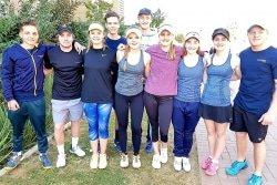 Caption: The Madibaz tennis team which won promotion to the A section at the recent University Sport South Africa tournament in Bloemfontein was (from left) Josh van Rensburg, Gareth Howell, Danielle Stander, Michael Carse, Ashleigh Garisch, Steward McLaren, Elaine van Zyl, Megan Reed, Kerry Pattinson and Tristan Fourie. Picture: Supplied