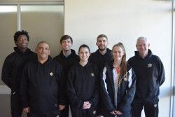 CAPTION: The University of Johannesburg team that won the University Sport South Africa title for the seventh time in a row in Port Elizabeth last week: Back, from left: Blessing Muhwati, Kyle Maree, Tyrone Dial, coach Mike Bester. Front, from left: manager Reedwaan Asvat, Kacey-Leigh Dodd and Jenny Preece. Absent: Alexa Pienaar. Picture: Full Stop Communications