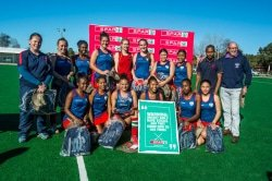Caption: The Hudson Park team who won the SPAR Eastern Cape Schoolgirls Hockey Challenge provincial finals at Woodridge, near Port Elizabeth, on Saturday was (back, from left) Rosanne De'ath (manager), Tayla Jade Marais, Zukhanye Tyalantsitska, Jenna Mae Hansen, Savannah Mountfort, Kate Dallas, Keziah King, Sisipho Ndhlabu, Jerry Snyman (coach), SPAR EC sponsorship and events manager Alan Stapleton; (front, from left) Asemahle Mdoko, Jody Ann October, Zimkhitha Weston (captain), Akhona Monakali, Liyabona Macingwane, Sasha Lee Bridger. Picture: Full Stop Communications