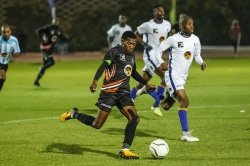 Caption: University of Johannesburg's Mokete Mogaila goes on the attack against Wits in their Varsity Football match at the UJ Soweto campus in Johannesburg on Thursday. Picture: Dominic Barnardt/VarsitySports