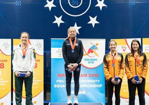 Caption: University of Johannesburg's Alexa Pienaar (left) claimed the silver medal in the World University Squash Championships in Birmingham, England, earlier this month. The women's title was won by England's Lily Taylor (middle), while Malaysians Aika Azman and Zoe Foo (extreme right) shared third place. Picture: Supplied