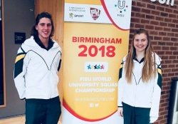 CAPTION: Madibaz squash stars Hayley Ward (right) and John Kuhn were part of the South African team, which competed in the World University Championships in Birmingham, England, earlier this month. Picture: Supplied