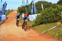 Caption: Marco Joubert beats Jason Meaton to the line to win the men's 70km Bestmed-Makro mountain-bike race at the Hopewell Conservation Estate just outside Port Elizabeth today. Picture: Full Stop Communications