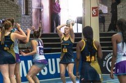 Caption: SPAR Madibaz player Bianca Blom shoots for goal during their Varsity Netball match against North-West University in Stellenbosch on Monday. Picture: Kevin Sawyer