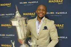 CAPTION: Top karateka Gcobani Maxama achieved a personal goal when he was named Sportsman of the Year at the Madibaz Sports gala awards function last week. Picture: Full Stop Communications