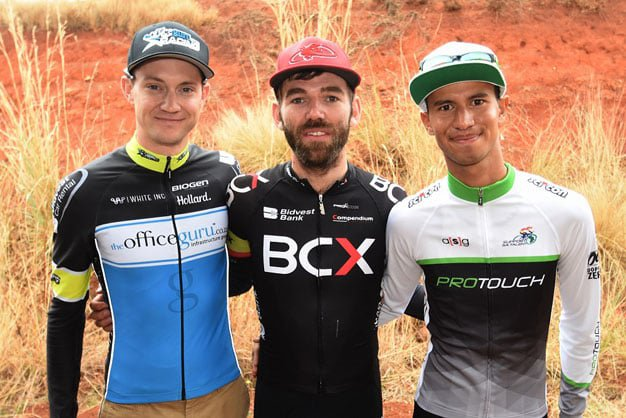 BCX rider Steven van Heerden (middle) won the Bestmed Satellite Classic 110km cycling men's road race near Hartbeespoort Dam in the North West Province today. With him are Jayde Julius (right), who was second, and Dylan Girdlestone, who came third. Picture: Jetline Action Photography