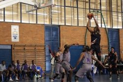 CAPTION: Nqosa Lehloenya, pictured here shooting a goal, will captain the UJ team during the Varsity Basketball tournament, which starts in Johannesburg today. Photo: Supplied