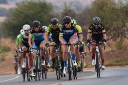 Caption: BCX rider Steven van Heerden (right), who won the race, forms part of the leading bunch in the Bestmed Satellite Classic 110km cycling road race near Hartbeespoort Dam in the North West Province today. Picture: Jetline Action Photograpy