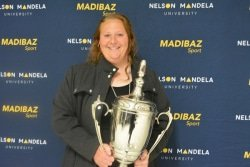 CAPTION: South African shot put and discus star Ischke Senekal was named Sportswoman of the Year at the Madibaz Sport gala awards evening in Port Elizabeth last week. Photo: Full Stop Communications