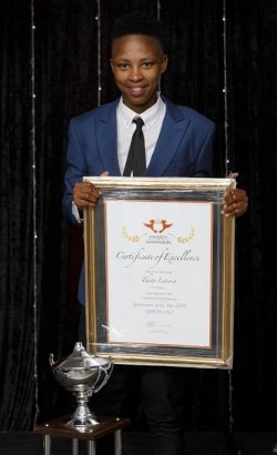 CAPTION: University of Johannesburg women's soccer captain Thato Letsose was delighted to be named Sportswoman of the Year at the varsity's annual gala awards function at Randpark Golf Club in Johannesburg this month. Picture: Clive Hassall Photography