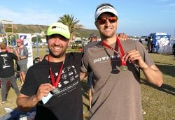 Caption: Hein van Rooyen (left) and Jason Goedhals were the winners of the K2 canal long course race in the SPAR River Paddle Challenge on the Swartkops River in Port Elizabeth on Saturday. Picture: Zsports Events