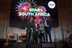 Caption: SPAR Eastern Cape managing director Conrad Isaac (second from the right) receives the award for consumer engagement in plastic reduction at the SPAR International Conference in Amsterdam, the Netherlands. With him are (from the left) SPAR International managing director Tobias Wasmuht, SPAR Group sustainability executive Kevin O'Brien and SPAR International marketing and strategic projects head Niels Dekkers. Picture: Supplied