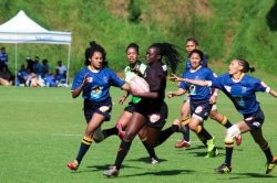 CAPTION: University of Johannesburg rugby sevens star Voice Ndou (middle) goes on a run during the women's sevens university tournament last year. Photo: Siphendulwe Nxasana
