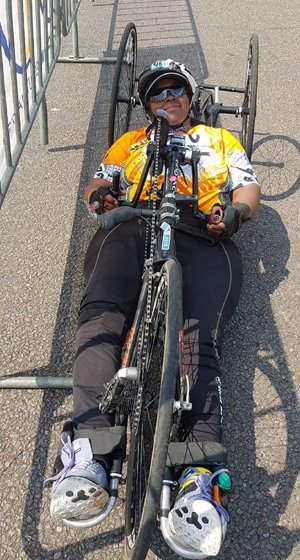 Caption: University of Johannesburg student Palesa Manaleng won the national H3 paracycling title in the South African road championships in Pretoria this month. Photo: Lezanne Bruwer
