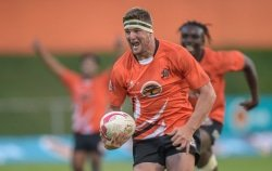 CAPTION: University of Johannesburg rugby captain Driaan Bester (with the ball) wants his team to end on a high when they play their final Varsity Cup game against Free State University in Johannesburg on Monday. Photo: Christiaan Kotze