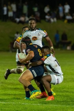CAPTION: FNB Madibaz eighth man Bevan Prinsloo was named the Player that Rocks after scoring four tries in their Varsity Shield match against the University of KwaZulu-Natal in Maritzburg last week. Madibaz won the match 41-12. Photo: Jethro Snyders Photography